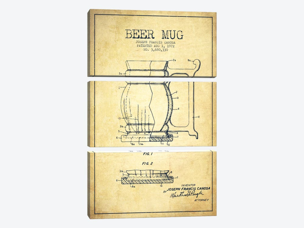 Beer Mug Vintage Patent Blueprint by Aged Pixel 3-piece Canvas Artwork
