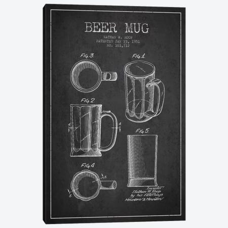 Beer Mug Charcoal Patent Blueprint Canvas Print #ADP714} by Aged Pixel Canvas Artwork