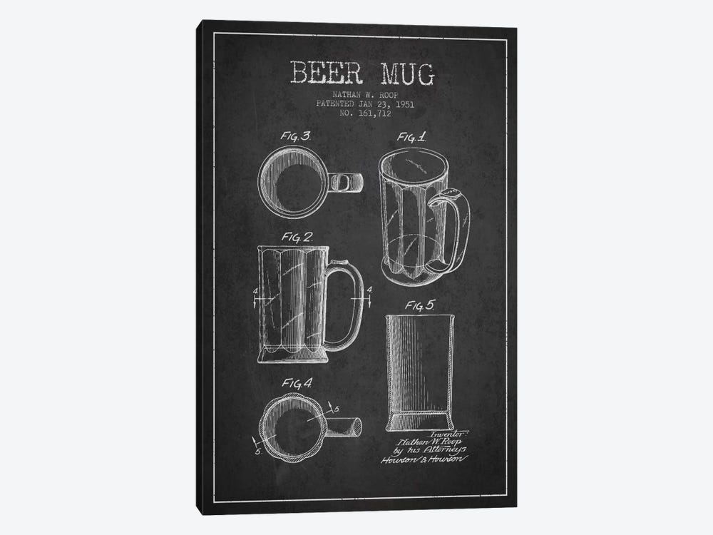 Beer Mug Charcoal Patent Blueprint by Aged Pixel 1-piece Canvas Print