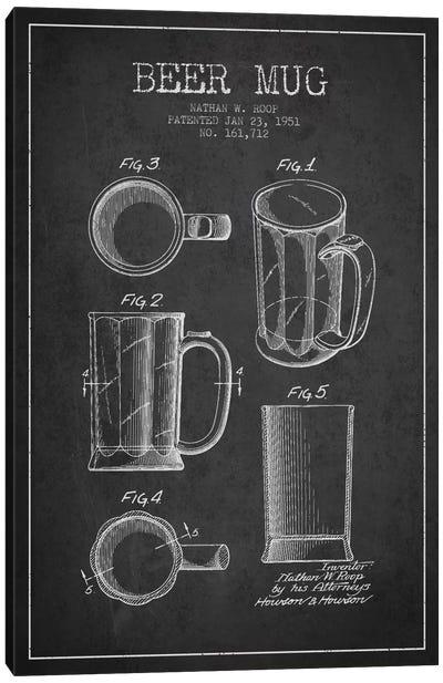 Beer Mug Charcoal Patent Blueprint Canvas Art Print