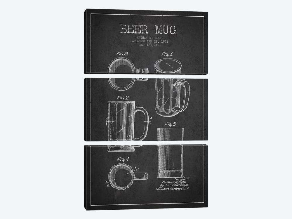 Beer Mug Charcoal Patent Blueprint by Aged Pixel 3-piece Canvas Print