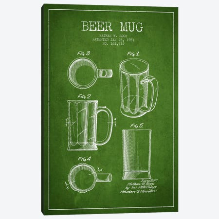 Beer Mug Green Patent Blueprint Canvas Print #ADP715} by Aged Pixel Canvas Artwork