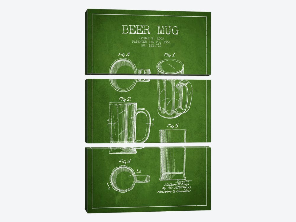 Beer Mug Green Patent Blueprint by Aged Pixel 3-piece Canvas Art