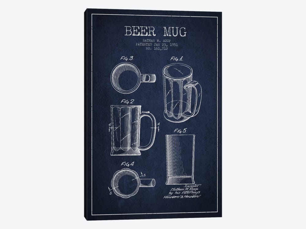 Beer Mug Navy Blue Patent Blueprint by Aged Pixel 1-piece Canvas Art Print