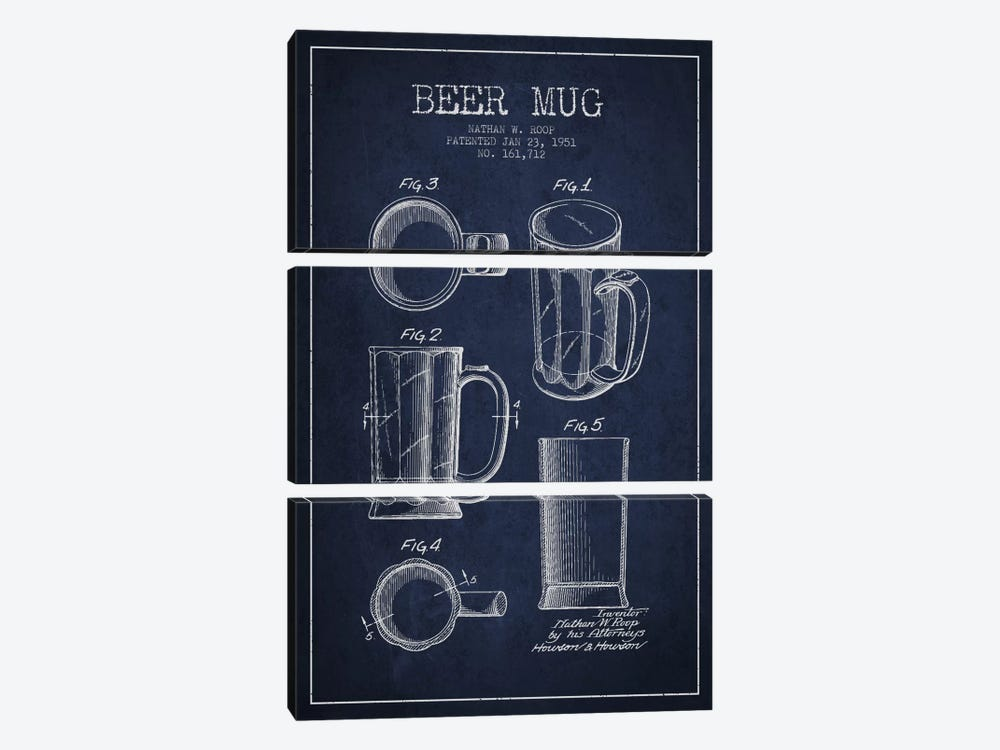 Beer Mug Navy Blue Patent Blueprint by Aged Pixel 3-piece Art Print