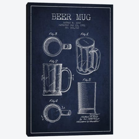 Beer Mug Navy Blue Patent Blueprint Canvas Print #ADP716} by Aged Pixel Canvas Artwork