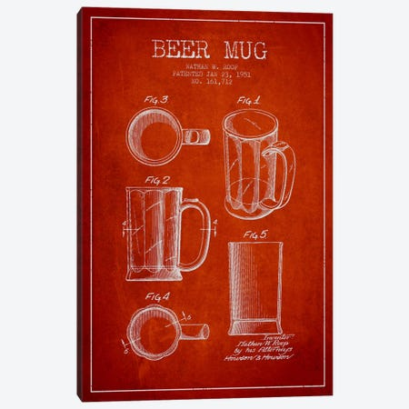 Beer Mug Red Patent Blueprint Canvas Print #ADP717} by Aged Pixel Canvas Artwork