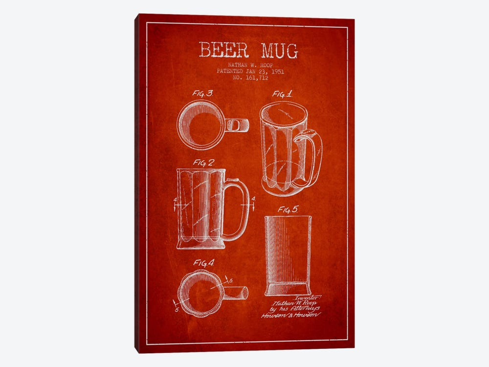 Beer Mug Red Patent Blueprint by Aged Pixel 1-piece Canvas Wall Art