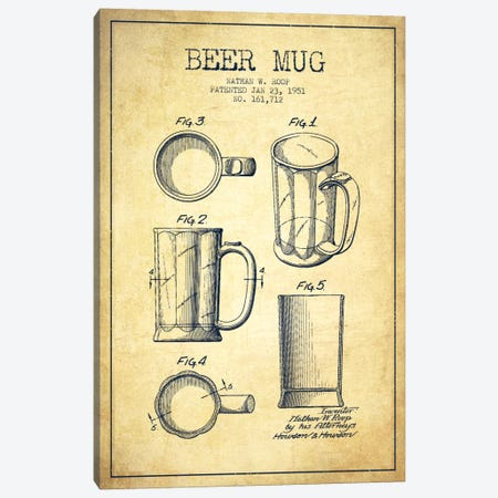 Beer Mug Vintage Patent Blueprint Canvas Print #ADP718} by Aged Pixel Canvas Print