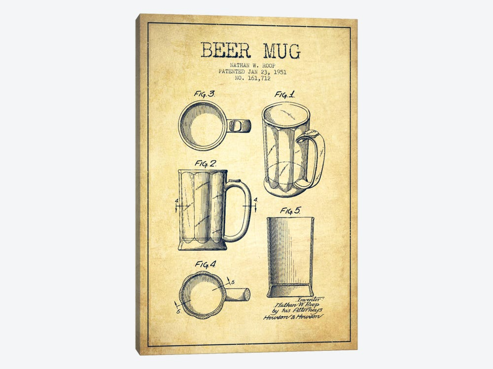 Beer Mug Vintage Patent Blueprint by Aged Pixel 1-piece Canvas Print