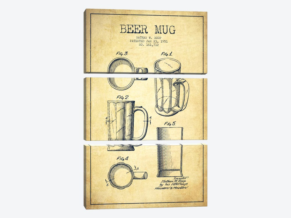 Beer Mug Vintage Patent Blueprint 3-piece Canvas Print
