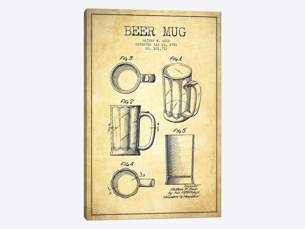 Beer Mug Vintage Patent Blueprint by Aged Pixel 1-piece Canvas Print