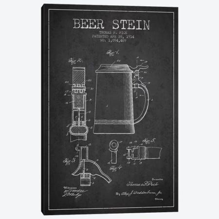Beer Stein Charcoal Patent Blueprint Canvas Print #ADP719} by Aged Pixel Art Print