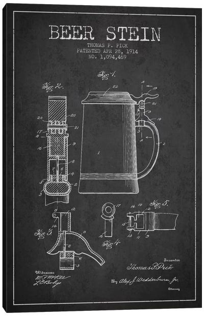 Beer Stein Charcoal Patent Blueprint Canvas Art Print