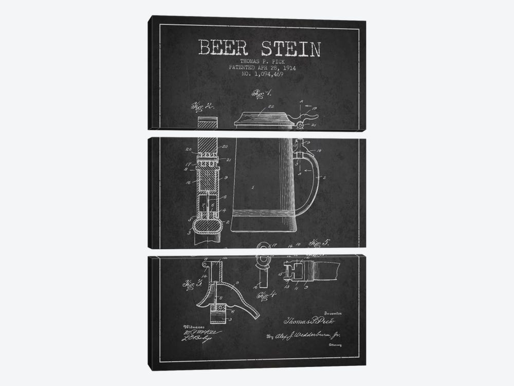 Beer Stein Charcoal Patent Blueprint 3-piece Canvas Art