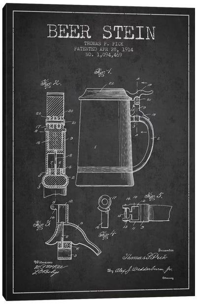 Beer Stein Charcoal Patent Blueprint Canvas Art Print