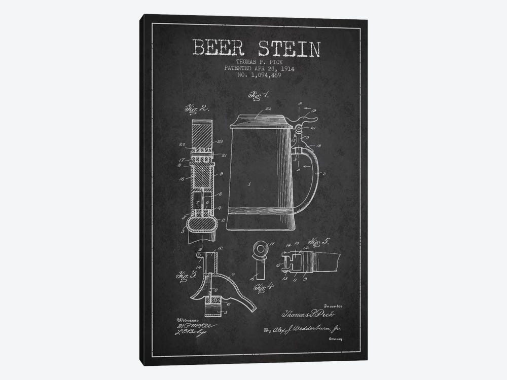Beer Stein Charcoal Patent Blueprint by Aged Pixel 1-piece Canvas Artwork