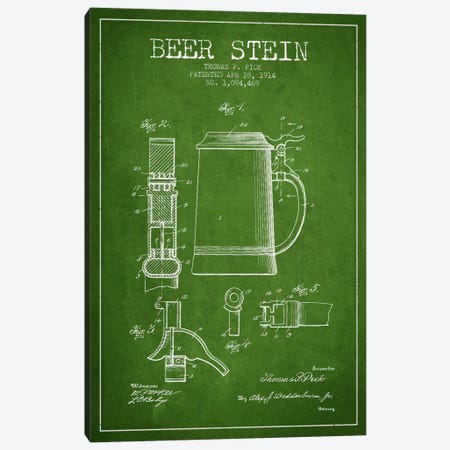 Beer Stein Green Patent Blueprint Canvas Print #ADP720} by Aged Pixel Canvas Artwork