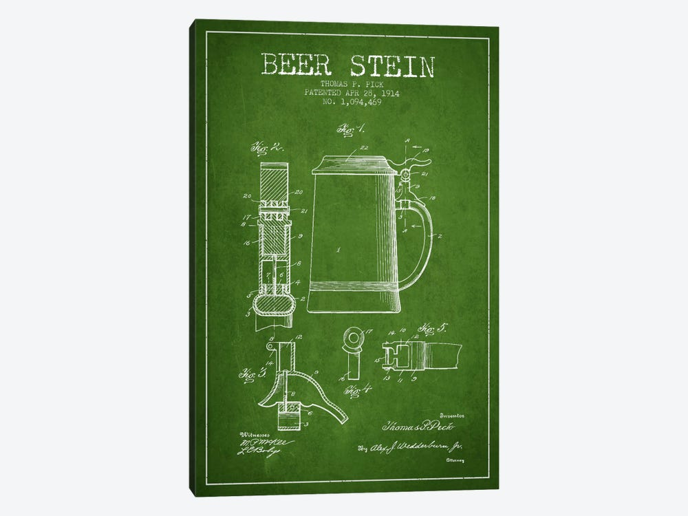 Beer Stein Green Patent Blueprint by Aged Pixel 1-piece Canvas Artwork