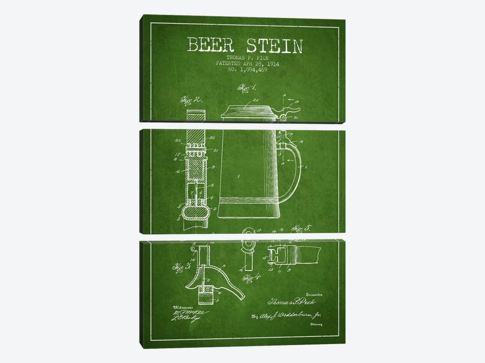 Beer Stein Green Patent Blueprint by Aged Pixel 3-piece Canvas Artwork