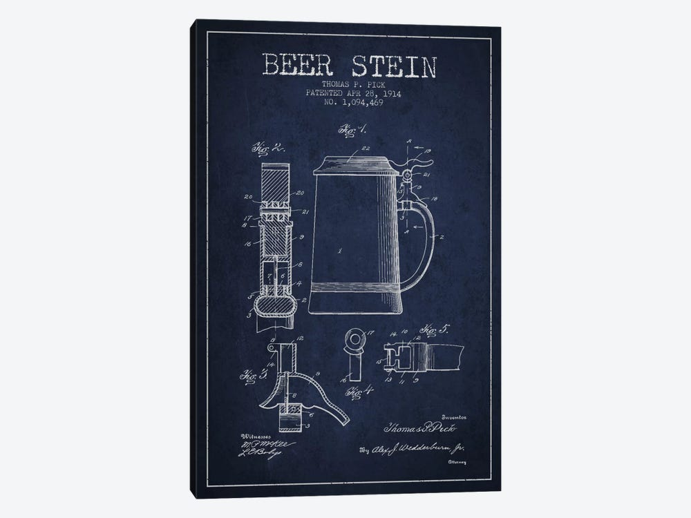 Beer Stein Navy Blue Patent Blueprint by Aged Pixel 1-piece Canvas Print
