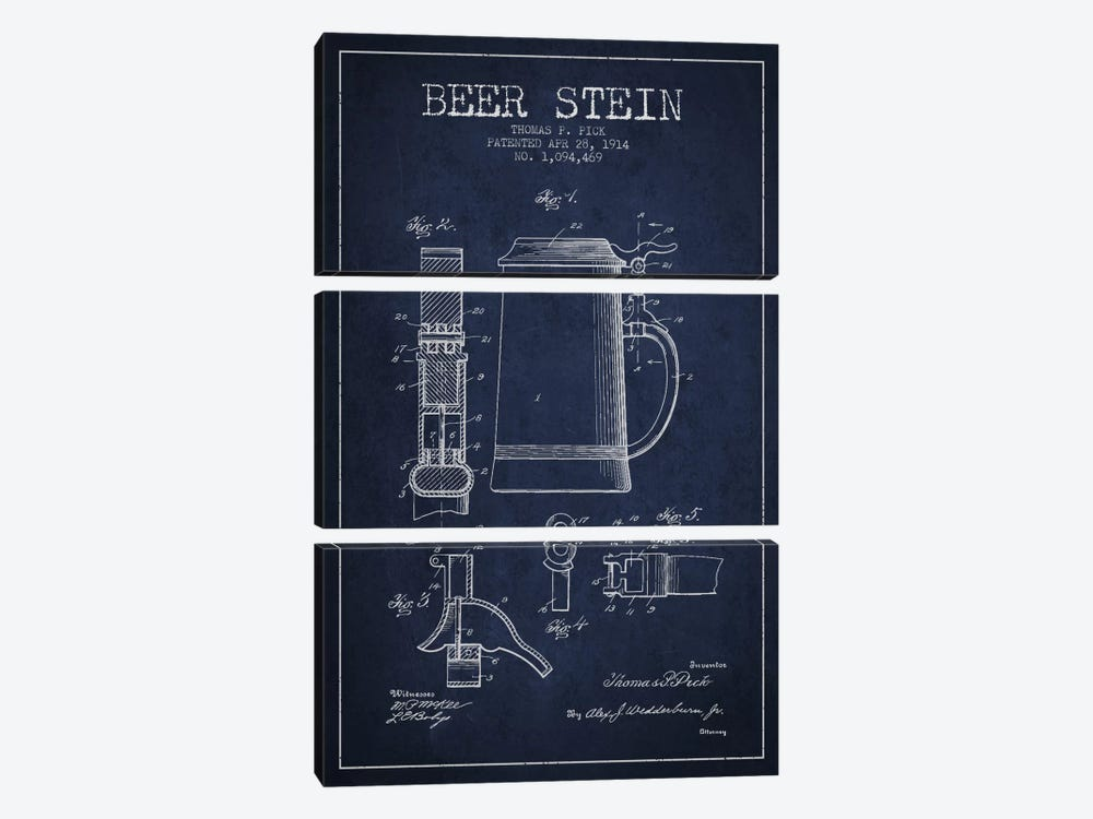 Beer Stein Navy Blue Patent Blueprint by Aged Pixel 3-piece Canvas Print