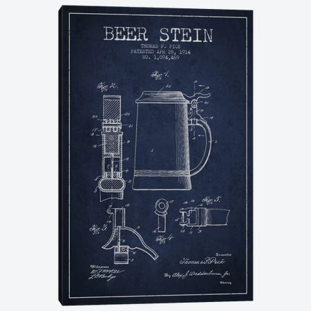 Beer Stein Navy Blue Patent Blueprint 3-Piece Canvas #ADP721} by Aged Pixel Canvas Art