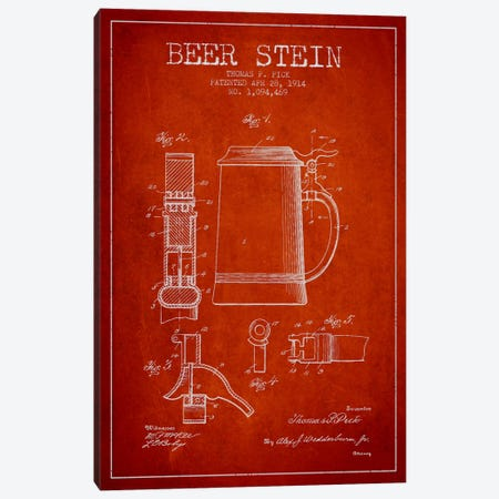 Beer Stein Red Patent Blueprint Canvas Print #ADP722} by Aged Pixel Canvas Art