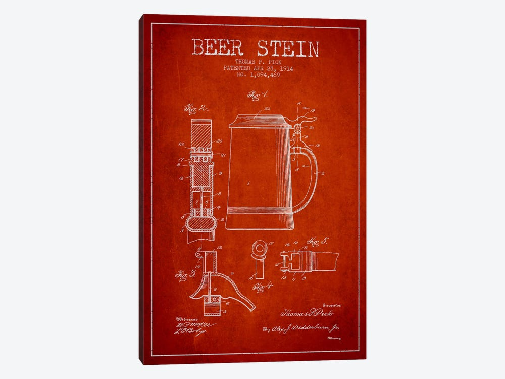 Beer Stein Red Patent Blueprint by Aged Pixel 1-piece Canvas Wall Art