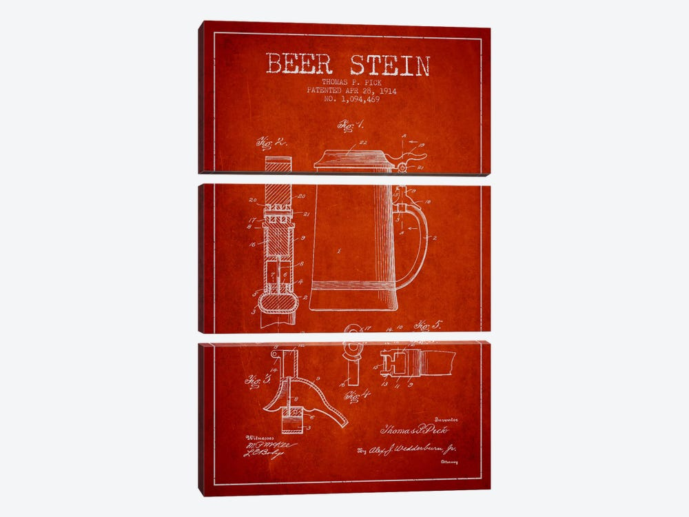 Beer Stein Red Patent Blueprint by Aged Pixel 3-piece Canvas Wall Art