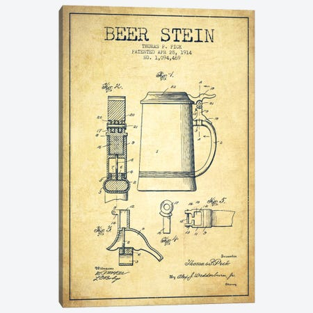 Beer Stein Vintage Patent Blueprint Canvas Print #ADP723} by Aged Pixel Canvas Artwork