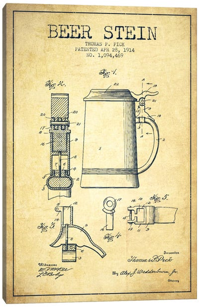 Beer Stein Vintage Patent Blueprint Canvas Art Print
