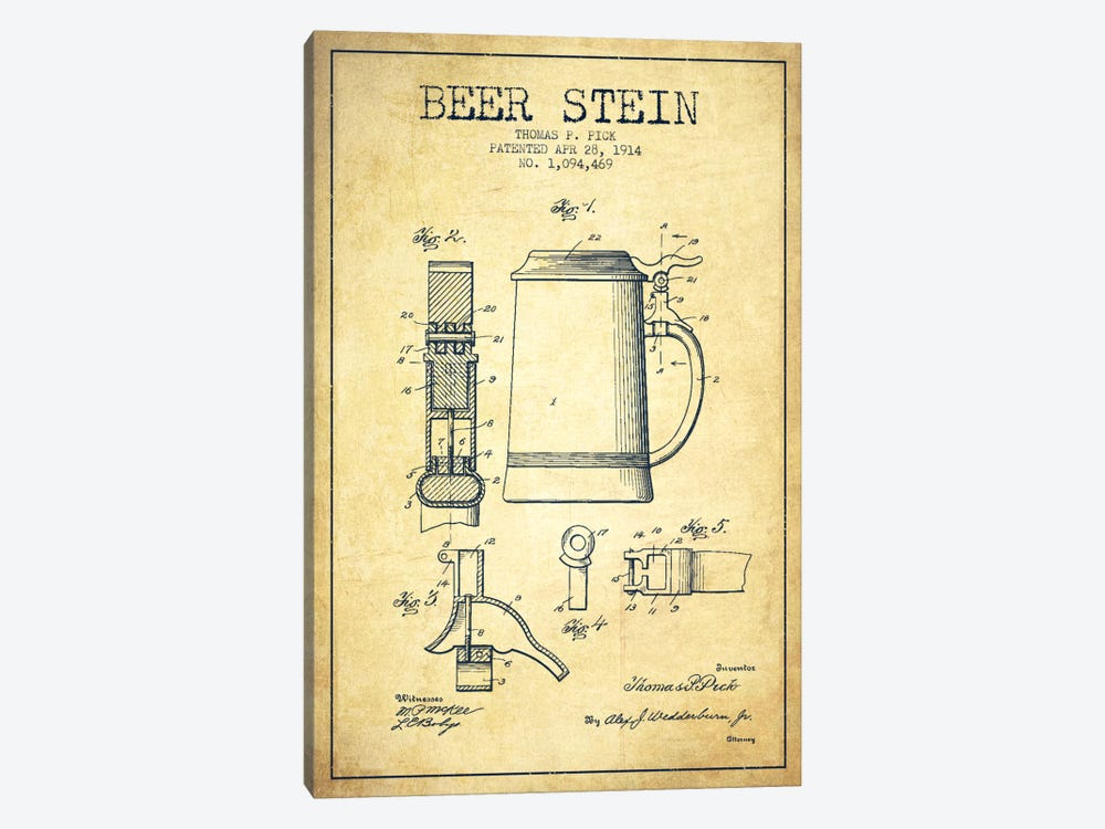 Beer Stein Vintage Patent Blueprint 1-piece Canvas Art Print