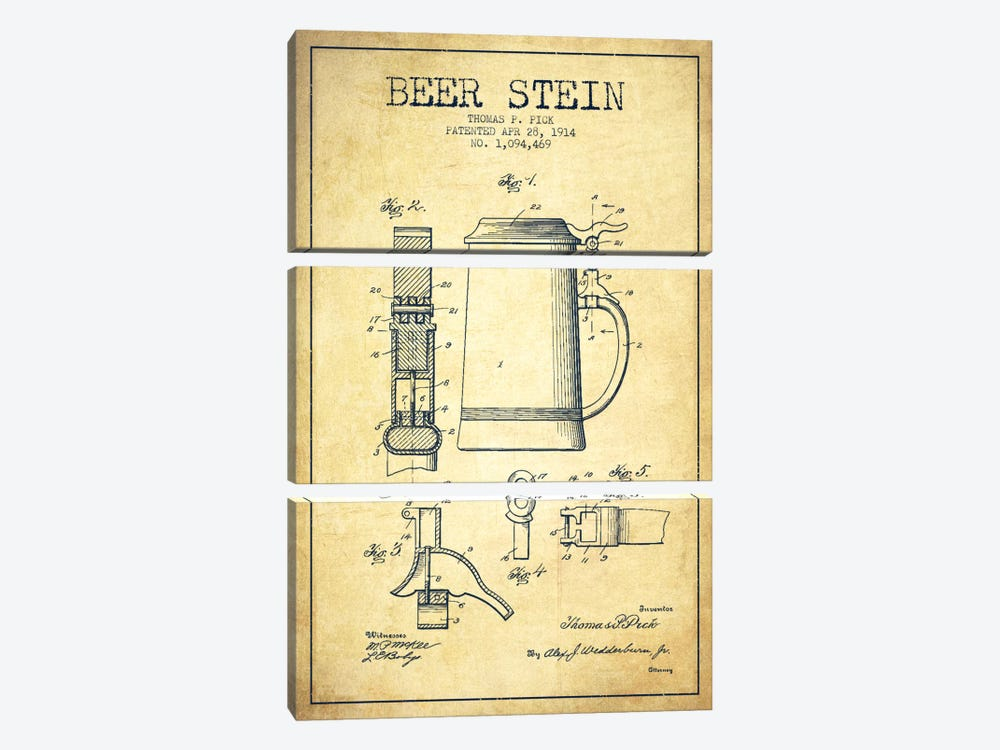 Beer Stein Vintage Patent Blueprint 3-piece Canvas Art Print