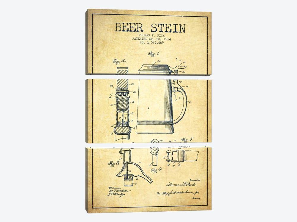 Beer Stein Vintage Patent Blueprint by Aged Pixel 3-piece Canvas Art Print