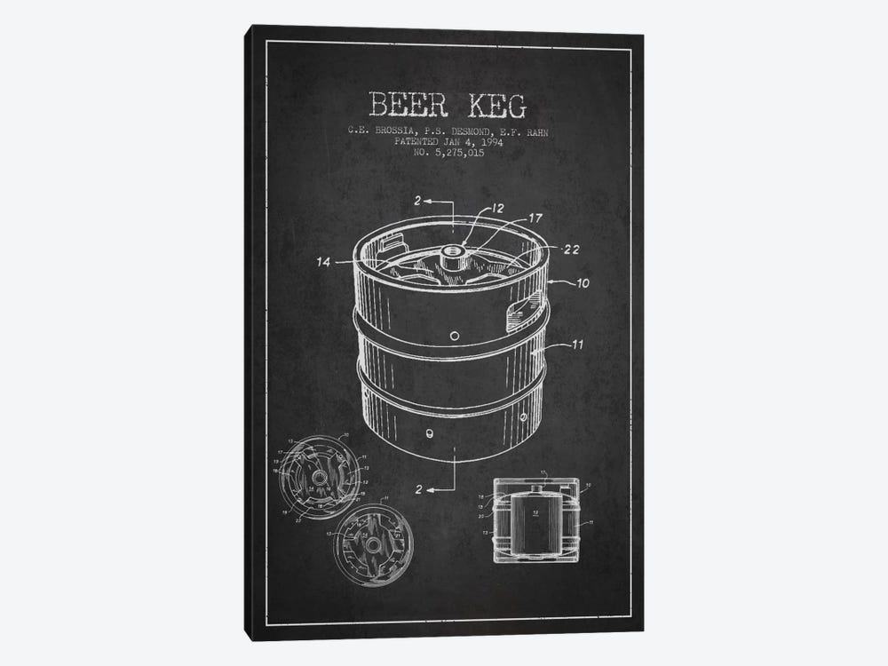 Keg Charcoal Patent Blueprint by Aged Pixel 1-piece Canvas Wall Art