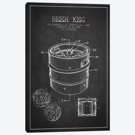 Keg Charcoal Patent Blueprint Canvas Print #ADP724} by Aged Pixel Canvas Art Print