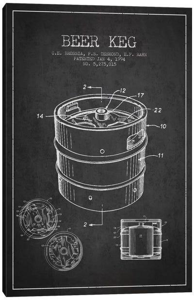 Keg Charcoal Patent Blueprint Canvas Art Print
