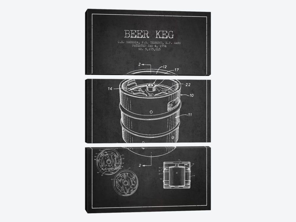 Keg Charcoal Patent Blueprint by Aged Pixel 3-piece Canvas Art
