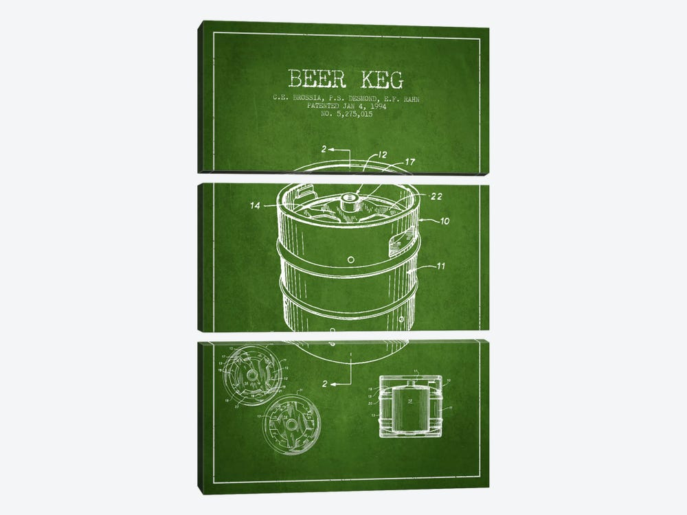 Keg Green Patent Blueprint by Aged Pixel 3-piece Canvas Print