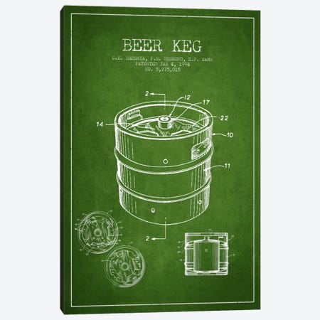 Keg Green Patent Blueprint Canvas Print #ADP725} by Aged Pixel Art Print