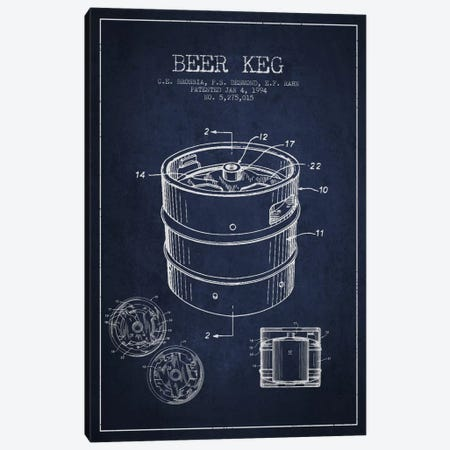 Keg Navy Blue Patent Blueprint Canvas Print #ADP726} by Aged Pixel Canvas Print