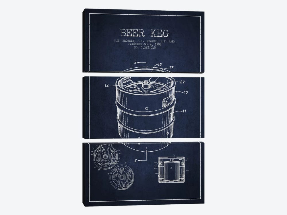 Keg Navy Blue Patent Blueprint by Aged Pixel 3-piece Canvas Artwork