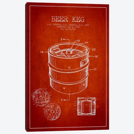 Keg Red Patent Blueprint Canvas Print #ADP727} by Aged Pixel Canvas Art Print