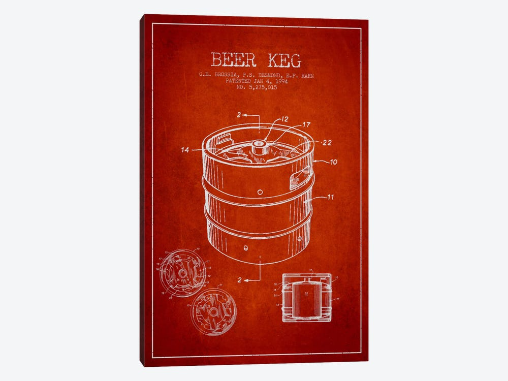 Keg Red Patent Blueprint by Aged Pixel 1-piece Canvas Print