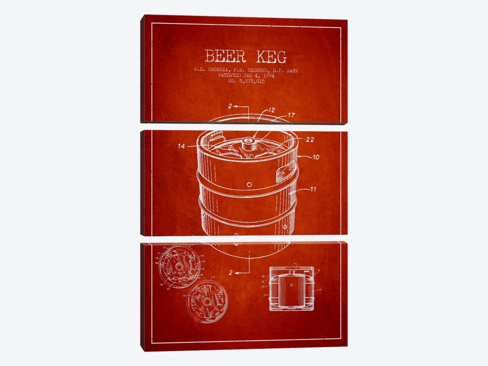Keg Red Patent Blueprint by Aged Pixel 3-piece Canvas Art Print