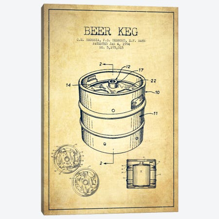 Keg Vintage Patent Blueprint Canvas Print #ADP728} by Aged Pixel Canvas Wall Art