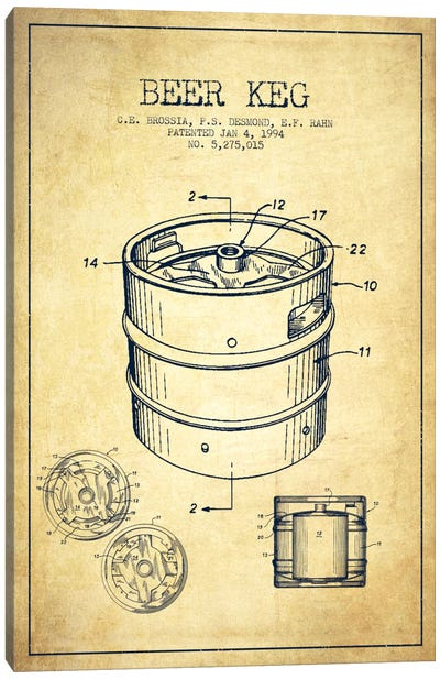 Keg Vintage Patent Blueprint Canvas Art Print