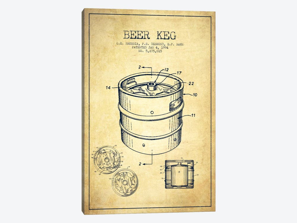 Keg Vintage Patent Blueprint by Aged Pixel 1-piece Canvas Wall Art