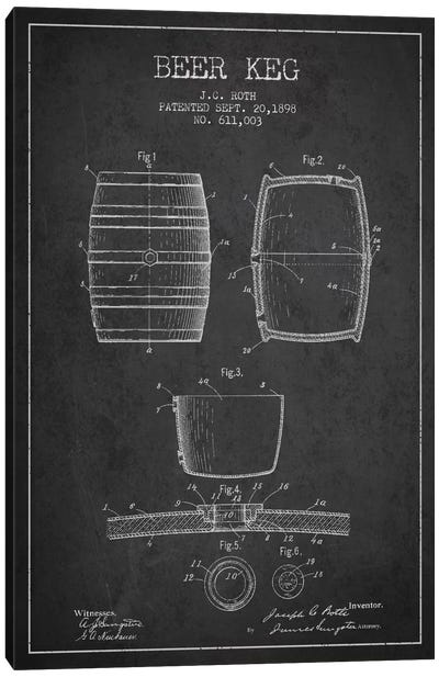 Keg Charcoal Patent Blueprint Canvas Art Print